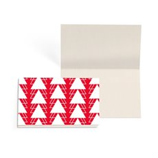 Folded Gift Cards - Folded Card w Envelopes Xmas Geo Tree Red (10x6.5cm) Pk 25