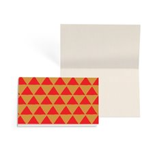 Folded Gift Cards - Folded Card w Envelopes Xmas Geo Red (10x6.5cm) Pk 25