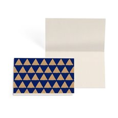 Folded Gift Cards - Folded Card w Envelopes Xmas Geo Nvy Gold (10x6.5cm) Pk 25