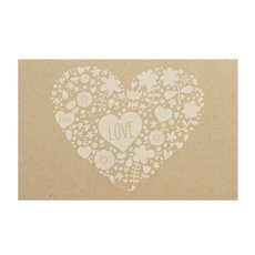 Florist Enclosure Cards - Cards Brown Kraft Heart Words White (10x6.5cmH) Pack 50