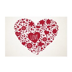 Cards White Heart Words Red 50Pk (10x6.5cmH)