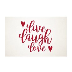 Cards White Live Laugh Love Red 50Pk (10x6.5cmH)