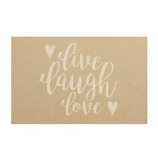 Cards Brown Kraft Live Laugh Love White 50Pk (10x6.5cmH)