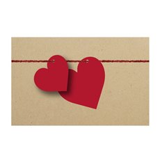 Cards Brown Heart String Red 50Pk (10x6.5cmH)