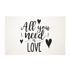 Cards White All You Need is Love Black 50Pk (10x6.5cmH)
