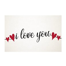 Cards White I love You Black 50Pk (10x6.5cmH)