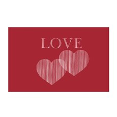 Florist Enclosure Cards - Cards Love 2 Hearts Red (10x6.5cmH) Pack 50