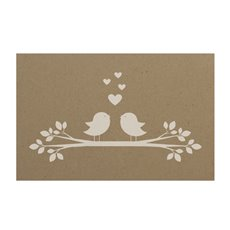 Florist Enclosure Cards - Cards Kraft Love Bird Branch (10x6.5cmH) Pack 50