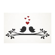 Florist Enclosure Cards - Cards White Love Bird Branch (10x6.5cmH) Pack 50