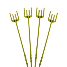 Plastic Floral Picks - Card Forks Premium Four Prong 25cm(10) Olive Green Pack 100