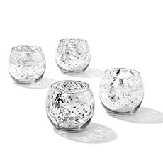 Rolypoly Glass Tealight Candle Holder Silver (8x6.7cmH)