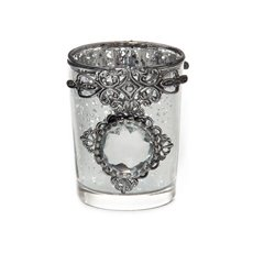 Candle Holders - Glass Votive Candle Holder Diamante Gem Silver(5.5x6.6cmH)