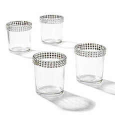 Diamante Glass Tealight Candle Holder Clear (5.5x6.5cmH)