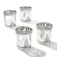 Candle Holders - Glass Votive Candle Holder Diamante Rim Silver (5.5x6.5cmH)