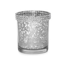 Diamante Glass Candle Holder Silver (7x8cmH)