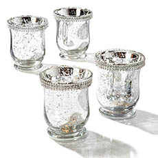 Tealight Candle Holders - Glass Votive Candle Holder Diamante Silver (9x11cmH)