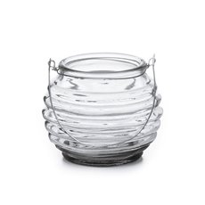 Ribbed Glass Tealight Candle Holder Clear (7x7.5cmH)