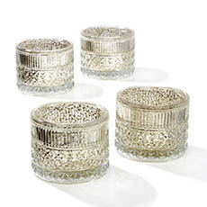 Tealight Candle Holders - Glass Candle Holder Vino Champagne (10.5x8cmH)