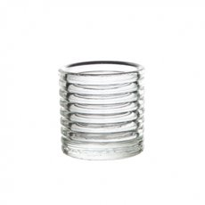 Ribbed Glass Votive Candle Holder Clear (6x6cmH)