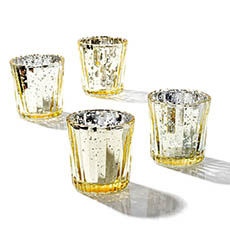 Candle Holders - Glass Votive Candle Holder Stripe Mercury Gold (5.5Dx6.8cmH)