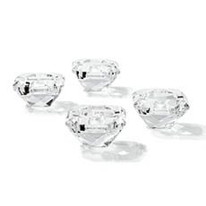 Candle Holders - Crystal Glass Diamond Tealight Clear Candle Holder (7x4cmH)