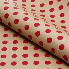 Counter Roll Bold Dot Red on Brown Kraft 60gsm (50cmx50m)