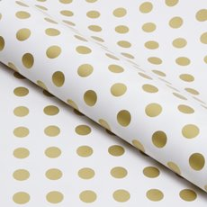 Counter Rolls - Counter Roll Bold Dot Gloss Gold on White (50cmx50m)