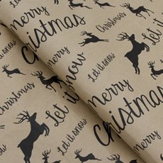 Counter Roll Reindeer Black on Brown Kraft 60gsm (50cmx60m)