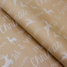 Counter Roll Reindeer White on Brown Kraft 60gsm (50cmx60m)