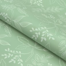 Counter Roll Hand Drawn Leaves 80gsm Sage Green (50cmx60m)