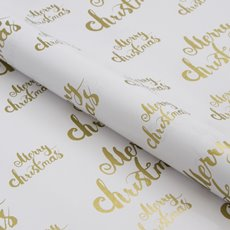 Counter Roll Merry Christmas Gold on White 80gsm (50cmx60m)