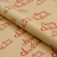 Counter Roll Merry Christmas Red on Kraft 70gsm (50cmx60m)