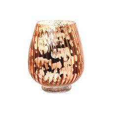 Glass Hurricane Lotus Crystal Stripes 17Dx20cmH Copper