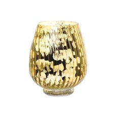 Hurricane Glass Vases - Glass Hurricane Lotus Crystal Stripes 17Dx20cmH Gold