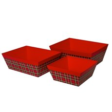 Cardboard Hamper Tray - Rigid Gourmet Hamper Taper Box Tartan Red (40x30x15cmH)Set 3