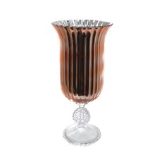 Glass Trumpet Vase Crystal Stripes 19Dx40cmH Copper
