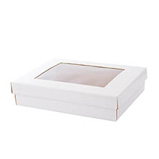 Cardboard Gourmet Box - Gourmet Box Rectangle with Window Large White (40x30x9cmH)