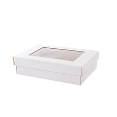 Cardboard Gourmet Box - Gourmet Grazing Gift Box Window Small White (33x23x9cmH)
