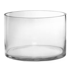 Cylinder & Conical Vases - Glass Float Bowl Clylinder Extra Large Clear (30Dx20cmH)