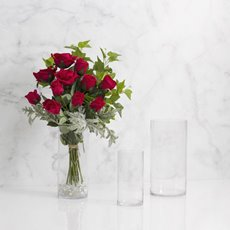 Glass Cylinder Vase Clear (14Dx32cmH)