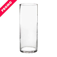 Glass Cylinder Vases - Glass Cylinder Vase Clear (12Dx30cmH) Promo