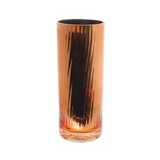 Cylinder & Conical Vases - Glass Cylinder Vase Crystal Stripes 12Dx30cmH Copper