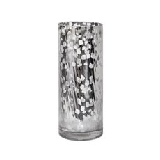 Glass Cylinder Vase Crystal Stripes 12Dx30cmH Mercury Silver