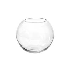 Fish Bowl Vases - Glass Fish Bowl 18cmD Clear