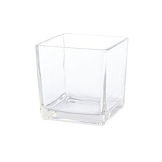 Pressed Glass Cube Vase Clear (15x15x15cmH)