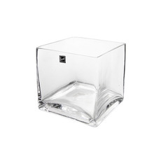 Cube and Square Vases - Glass Cube Vase 15cm Clear (15x15x15cmH)