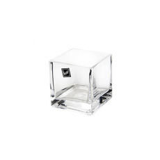 Cube and Square Vases - Glass Cube Vase 08cm Clear (8x8x8cmH)