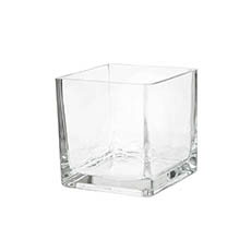Glass Square Vases - Glass Cube Vase 13cm Clear (13x13x13cmH)