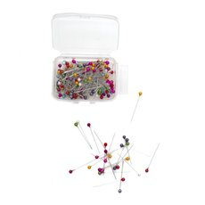 Pearl Pins Round Head Bulk 144 Pk Multi Coloured (3.5x38mmH)