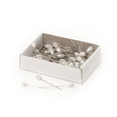 Corsage Decorative Florist Pins - Pearl Pins Teardrop Head Bulk 144 Pack White (5mmx38mmH)